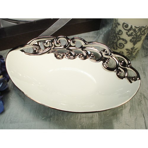 D'Lusso Designs Silver White Collection Deep Oval Bowl