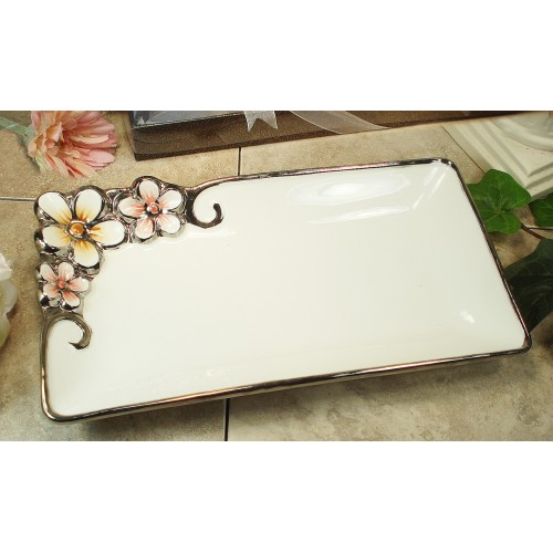 D'Lusso Designs Silver White Pastel Collection Rectangular Platter