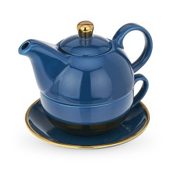 Addison Dark Blue and Gold Tea for One Set by Pinky Up